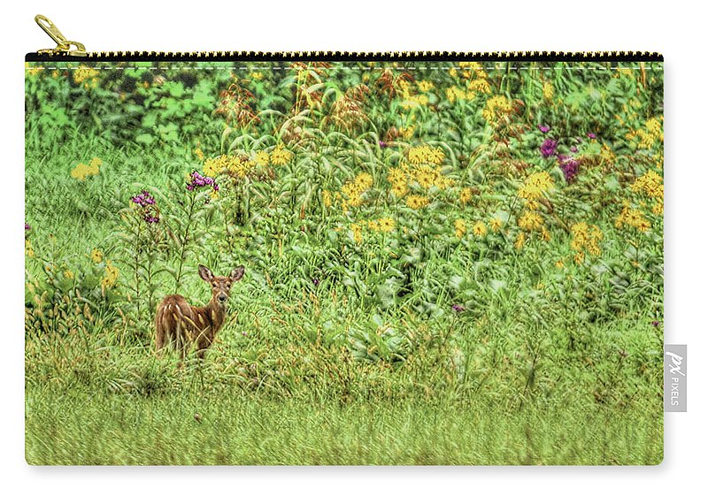 Fawn Carry-all Pouch featuring the photograph Fawn In Flowers by Shirley Tinkham