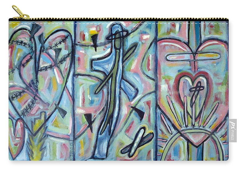 Cross Carry-all Pouch featuring the painting Fear Salvation And The Release Of Death by W Todd Durrance