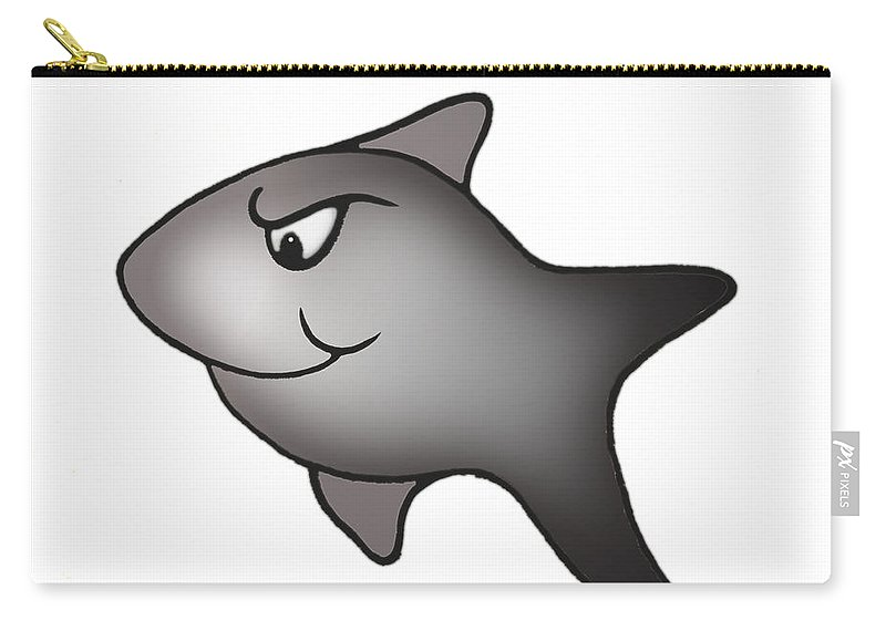 Sharks Carry-all Pouch featuring the mixed media Feargal by Deborah Runham