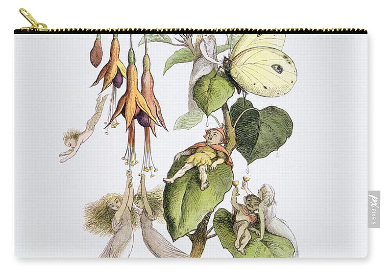 Fairy Carry-all Pouch featuring the painting Feasting And Fun Among The Fuschias by Richard Doyle