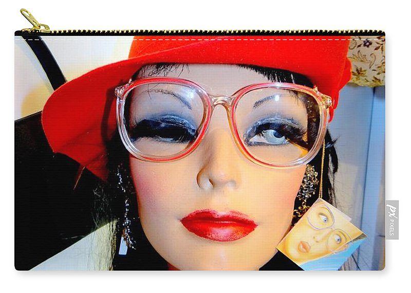 Mannequins Carry-all Pouch featuring the photograph Feather In Her Cap by Ed Weidman