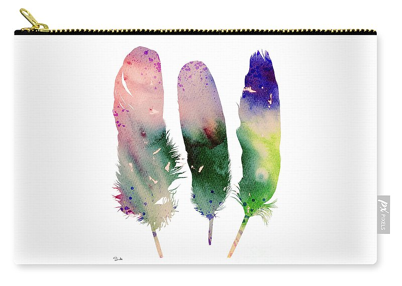 Feathers Carry-all Pouch featuring the painting Feathers 4 by Watercolor Girl
