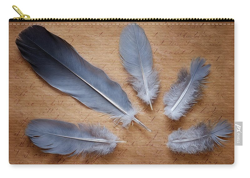 Still Life Photography Carry-all Pouch featuring the photograph Feathers And Old Letter by Jolanta Zychlinska