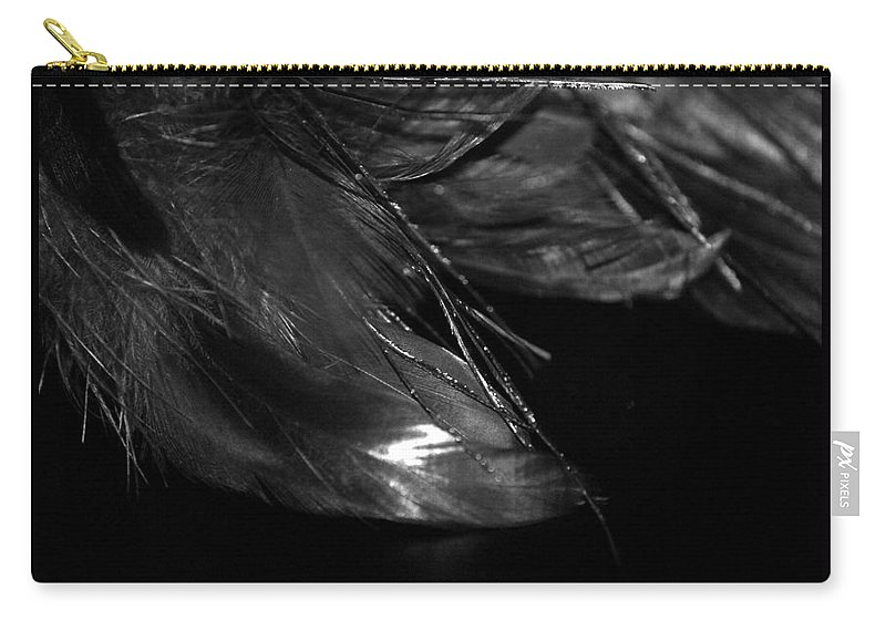 Digital Photography Carry-all Pouch featuring the photograph Feathers In Black And White by Laurie Pike