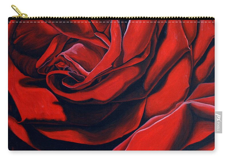 Rose Carry-all Pouch featuring the painting February Rose by Thu Nguyen