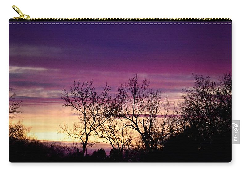February's Dramatic Sunrise Carry-all Pouch featuring the photograph February's Dramatic Sunrise by Maria Urso