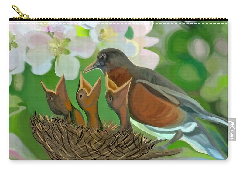 Birds Carry-all Pouch featuring the painting Feed Me Momma by Susanna Katherine