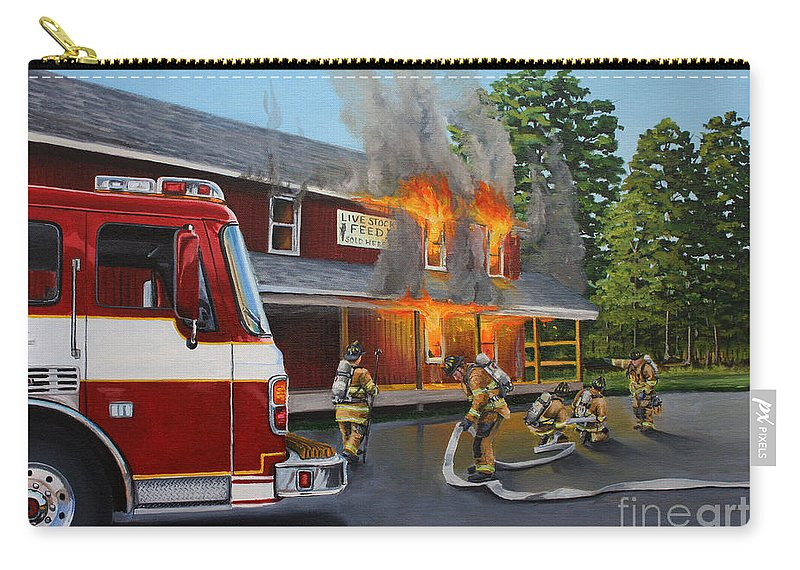 Bulding Fire Carry-all Pouch featuring the painting Feed Store Fire by Paul Walsh