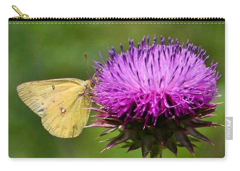 Sulfur Butterfly Carry-all Pouch featuring the photograph Feeding On Thistle by Kristin Elmquist