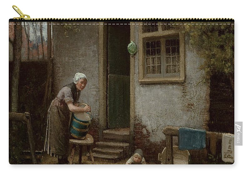 Feeding Carry-all Pouch featuring the painting Feeding The Ducks by Bernardus Johannes Blommers or Bloomers