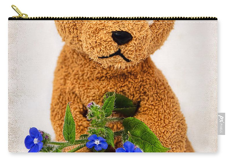 Teddy Bear Carry-all Pouch featuring the photograph Feeling A Little Blue by Susie Peek