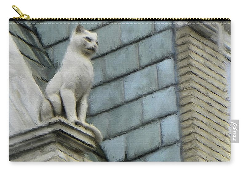 Architecture Carry-all Pouch featuring the painting Feline Sentry by Jeffrey Kolker