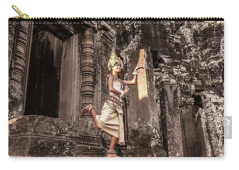 Hinduism Carry-all Pouch featuring the photograph Female Apsara Dancer, Standing On One by Cultura Exclusive/gary Latham