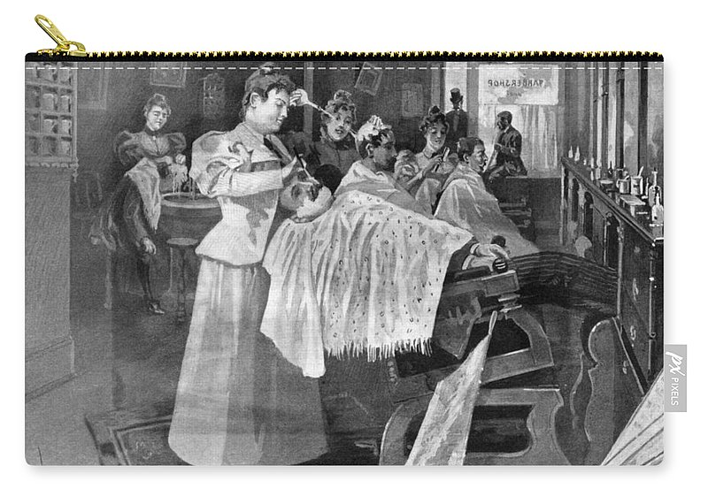 1895 Carry-all Pouch featuring the drawing Female Barber-shop, 1895 by Granger