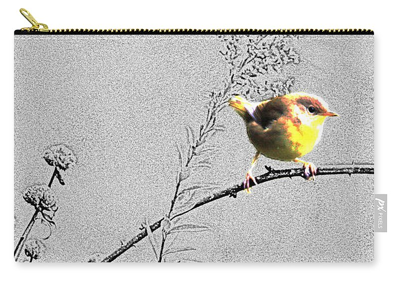 Bird Carry-all Pouch featuring the photograph Female Yellow Throat On Gray by Crystal Heitzman Renskers