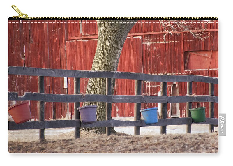 Fence Full Of Buckets Carry-all Pouch featuring the photograph Fence Full Of Buckets by Tracy Winter