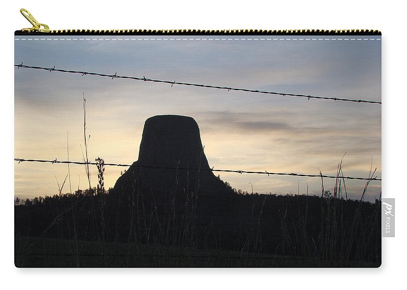 Carry-all Pouch featuring the photograph Fencing Devil's Tower by Cathy Anderson
