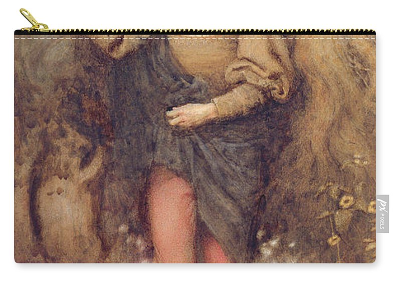 Shakespeare Carry-all Pouch featuring the drawing Ferdinand And Ariel, 1880 by Henry John Stock