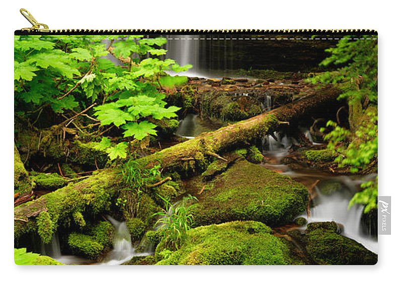 Fern Falls Carry-all Pouch featuring the photograph Fern Falls Panoramic by Leland D Howard