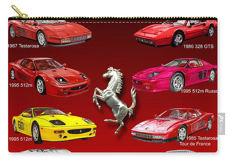 Framed Prints Of Ferrari Art Carry-all Pouch featuring the painting Ferrari Sports Car Poster by Jack Pumphrey