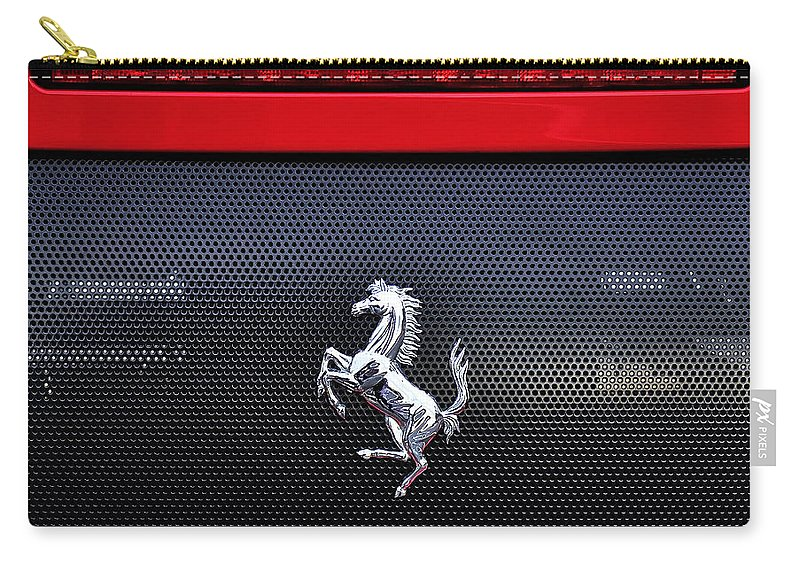 Photography Carry-all Pouch featuring the photograph Ferrari - Rear Grill And Stallion Badge by Kaye Menner