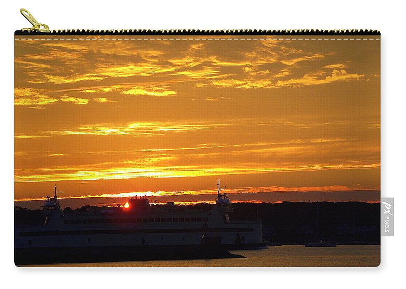 Ferry Carry-all Pouch featuring the photograph Ferry At Sunset by CapeScapes Fine Art Photography