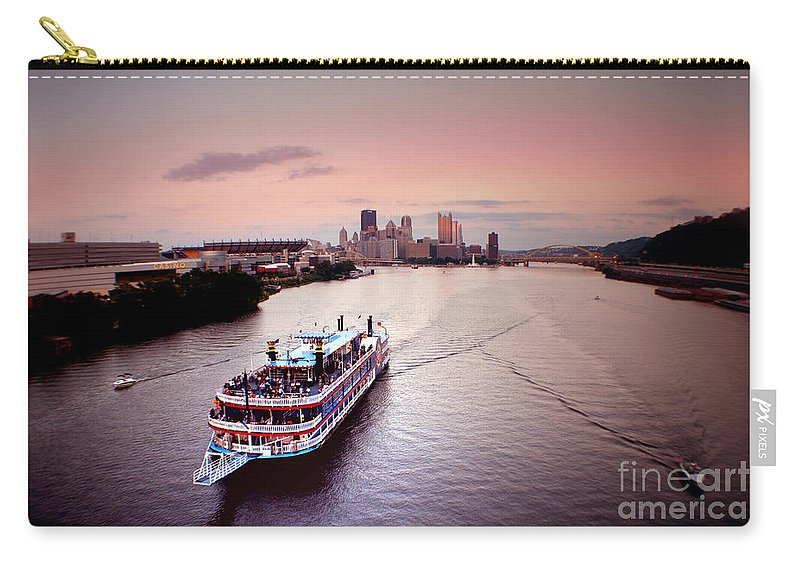 Ferry Carry-all Pouch featuring the photograph Ferry Boat At The Point In Pittsburgh Pa by Christopher Shellhammer