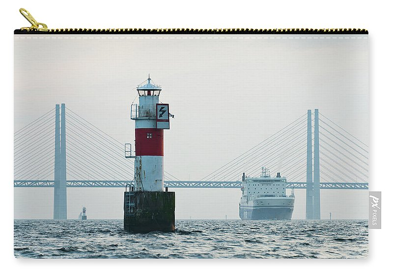 Copenhagen Carry-all Pouch featuring the photograph Ferry On Sea, Oresund Bridge In by Johner Images