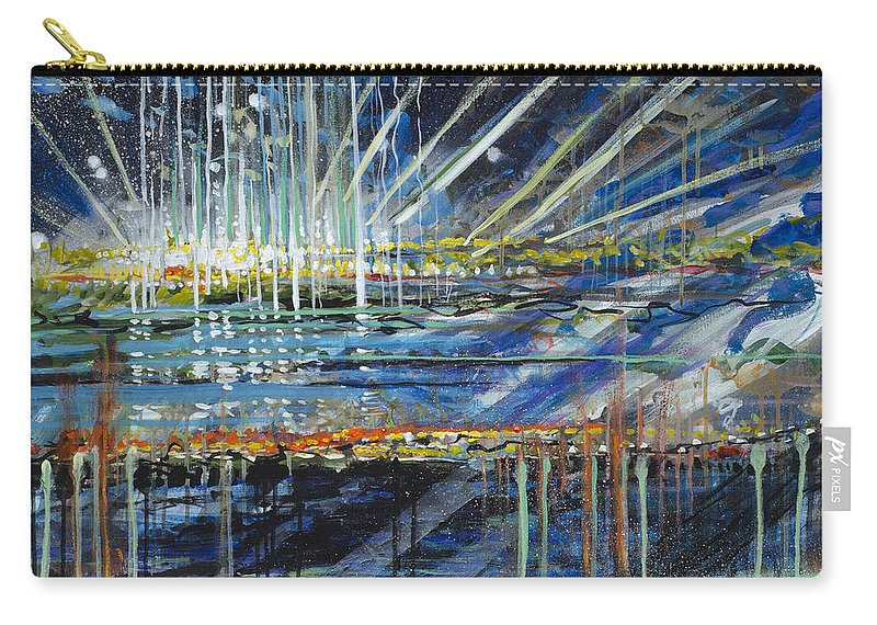 Abstract Carry-all Pouch featuring the painting Festival On The Waterfront by Lynn Hansen