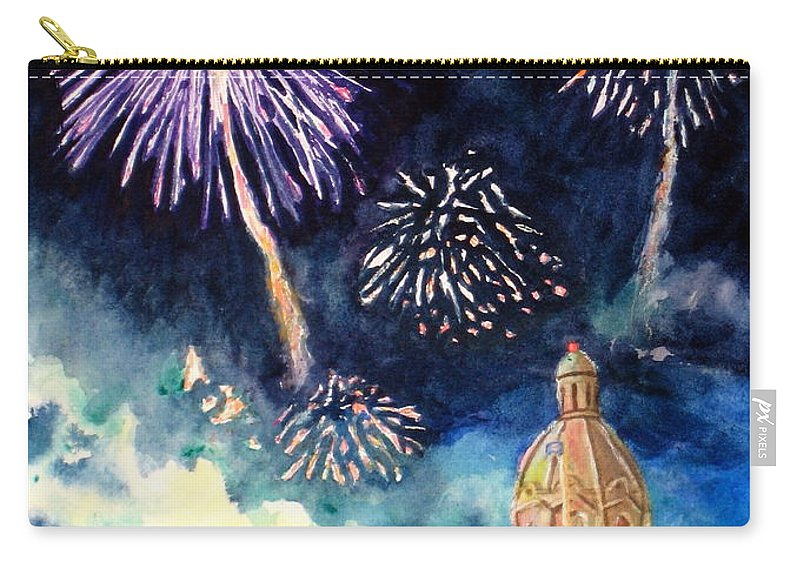 Architecture Carry-all Pouch featuring the painting Festive Season by Mohamed Hirji
