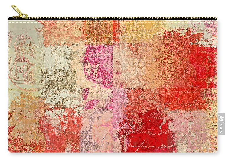 Abstract Carry-all Pouch featuring the digital art Feuilleton De Nature - S01t02a by Variance Collections