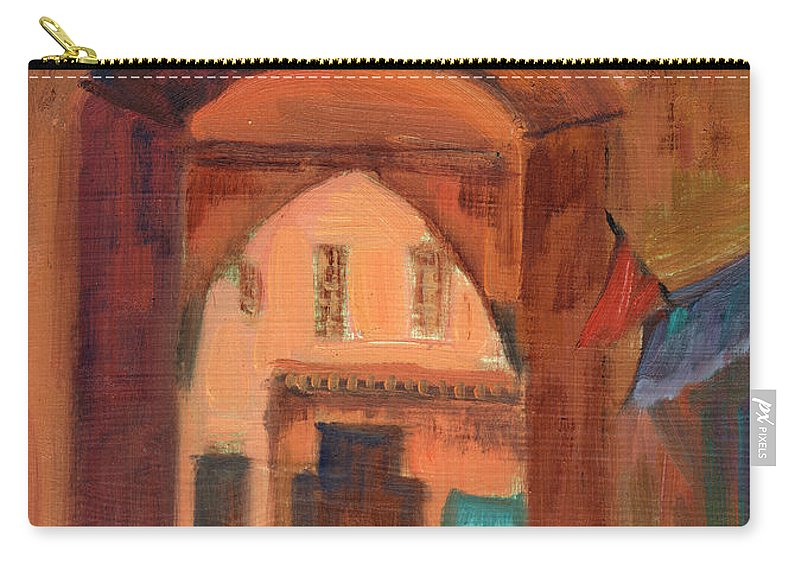 Fez Carry-all Pouch featuring the painting Fez Town Scene by Diane McClary