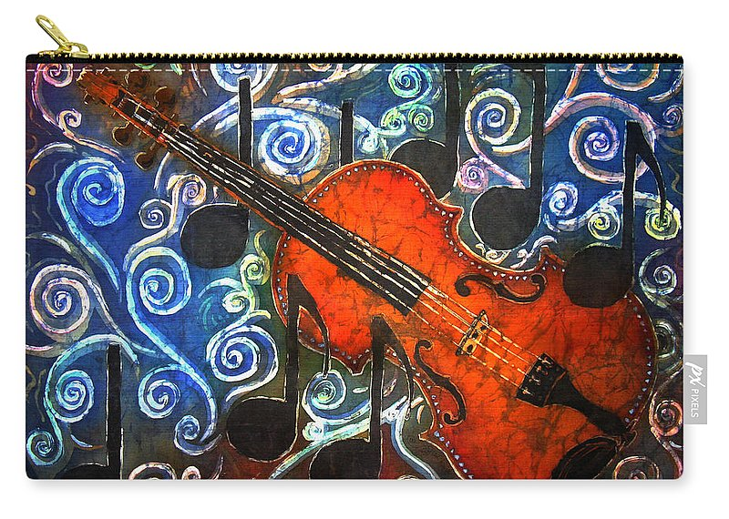 Fiddle Carry-all Pouch featuring the painting Fiddle - Violin by Sue Duda