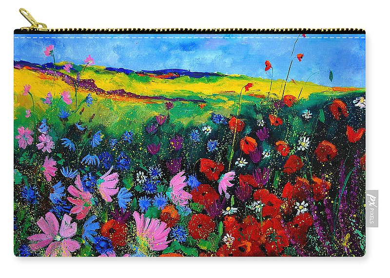 Poppies Carry-all Pouch featuring the painting Field Flowers by Pol Ledent