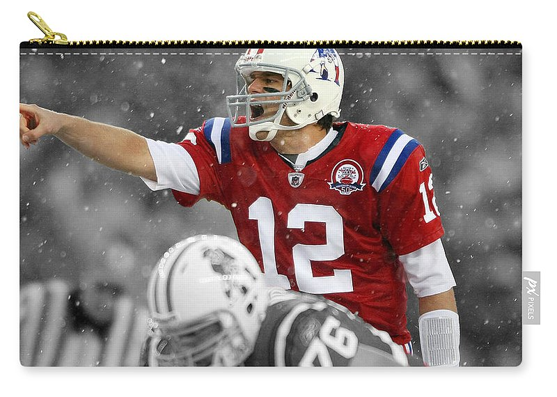 Tom Brady Carry-all Pouch featuring the mixed media Field General Tom Brady by Brian Reaves