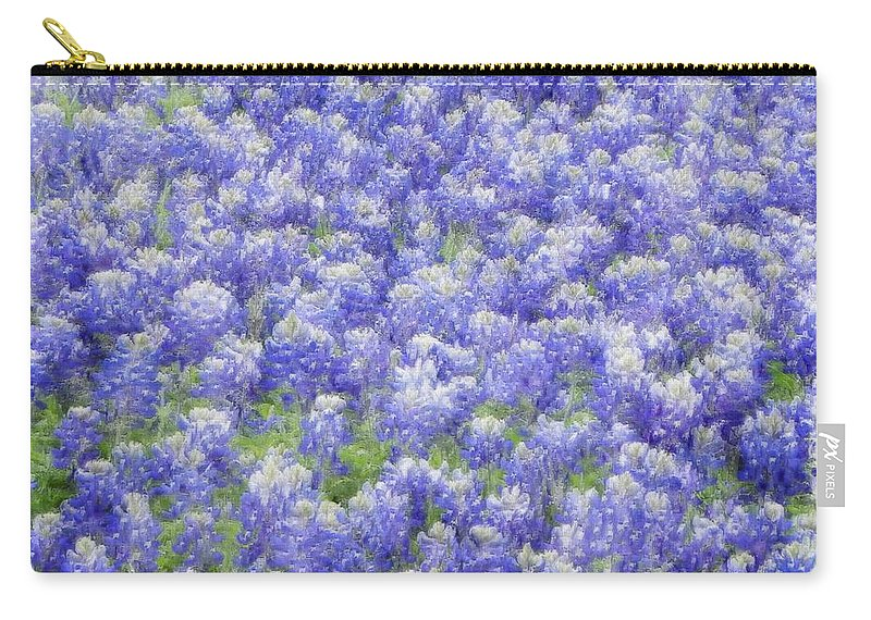 Bluebonnet Carry-all Pouch featuring the photograph Field Of Bluebonnets by Kathy Churchman