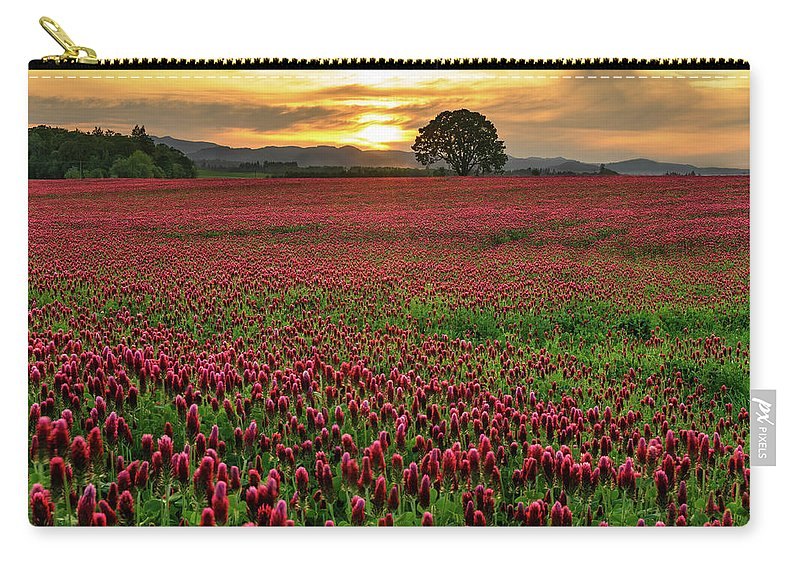 Scenics Carry-all Pouch featuring the photograph Field Of Crimson Clover With Lone Oak by Jason Harris