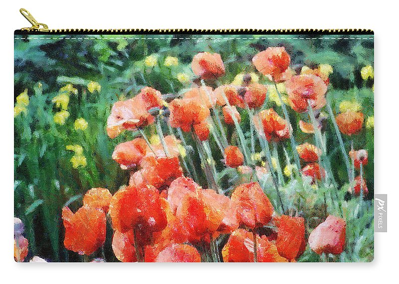Canadian Carry-all Pouch featuring the painting Field Of Flowers by Jeffrey Kolker