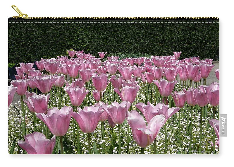 Pink Flowers Carry-all Pouch featuring the photograph Field Of Pink by Bev Conover