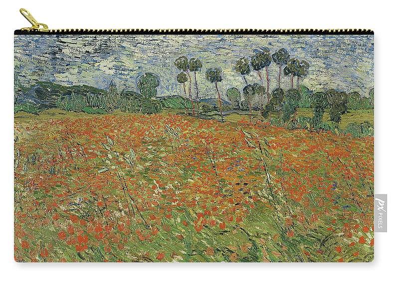 Landscape Carry-all Pouch featuring the painting Field Of Poppies, Auvers-sur-oise, 1890 by Vincent van Gogh