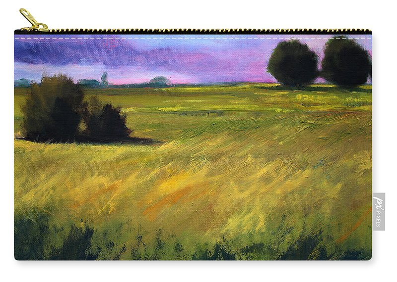 Oregon Carry-all Pouch featuring the painting Field Textures by Nancy Merkle