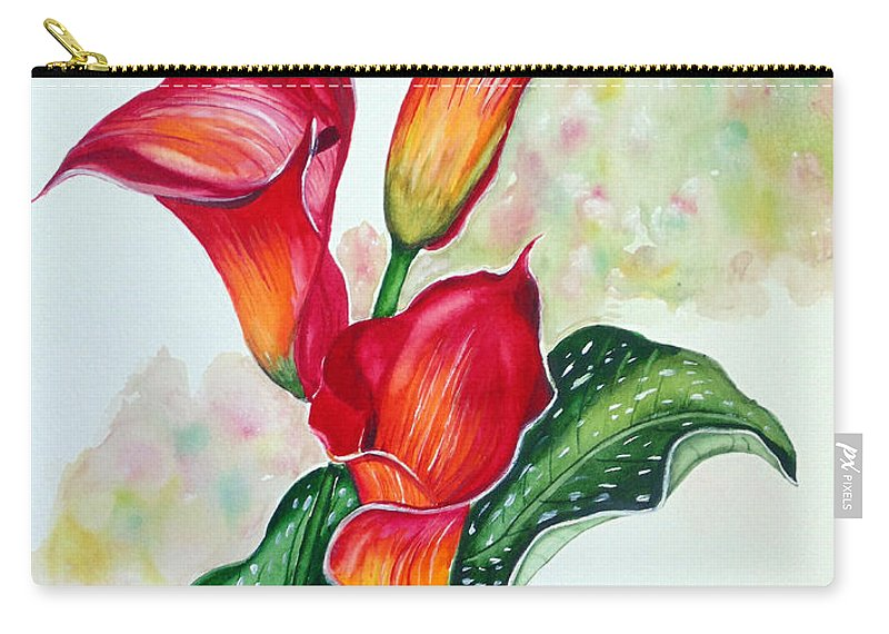 Floral Lily Paintings Flower Paintings Red Paintings Orange Paintings Calla Lily Paintings Tropical Paintings Caribbean Paintings  Greeting Card Paintings Canvas Paintings Poster Paintings Carry-all Pouch featuring the painting Fiery Callas by Karin Dawn Kelshall- Best