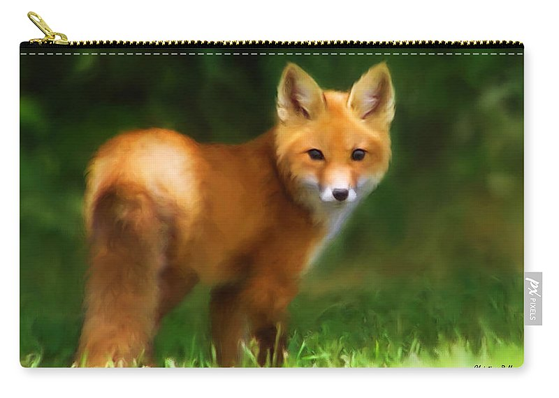 Red Fox Carry-all Pouch featuring the mixed media Fiery Fox by Christina Rollo