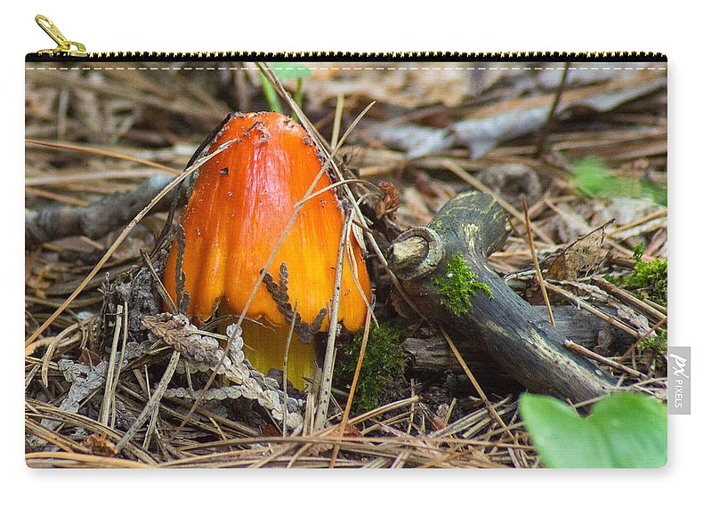 Forest Floor Carry-all Pouch featuring the photograph Fiery Fungi by Bill Pevlor