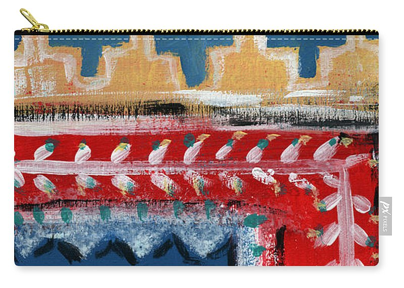 Fiesta Carry-all Pouch featuring the mixed media Fiesta 3- Colorful Pattern Painting by Linda Woods