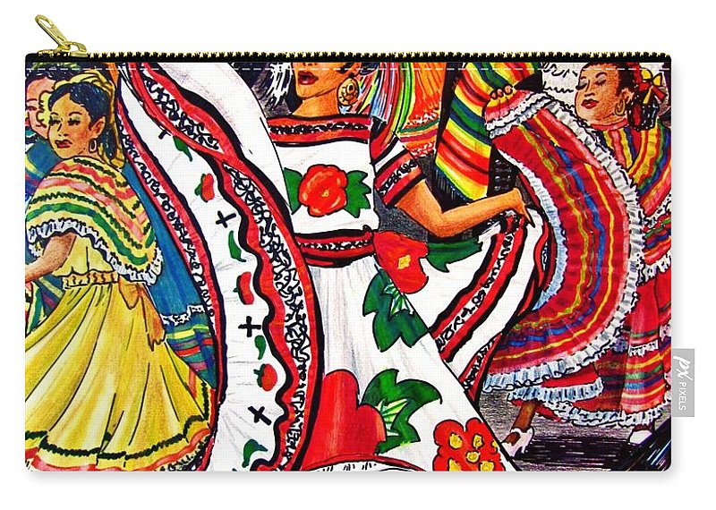 Spanish Dance Carry-all Pouch featuring the drawing Fiesta Parade by Marilyn Smith