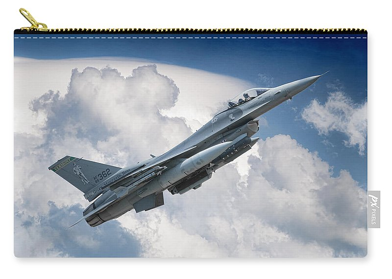 Aviation Flight Aircraft Military Speed Skies Atmosphere Space Fighter War Warplane Jet Air Force American Falcon Carry-all Pouch featuring the photograph Fighting Falcon by Jeff Stephenson
