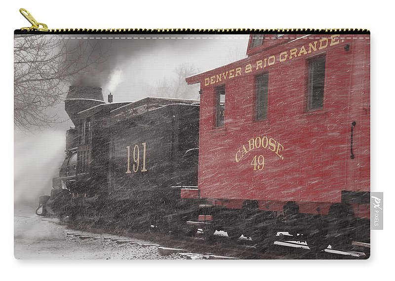 Steam Train Carry-all Pouch featuring the photograph Fighting Through The Winter Storm by Ken Smith