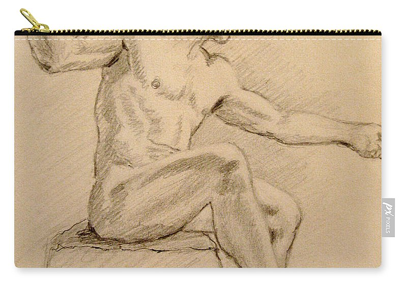 Figurative Carry-all Pouch featuring the drawing Figure On A Rock by Sarah Parks