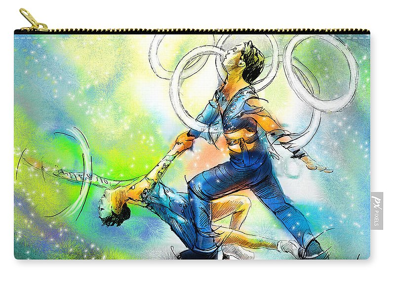 Sports Carry-all Pouch featuring the painting Figure Skating 01 by Miki De Goodaboom